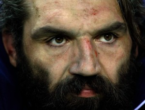 France's Sebastien Chabal sits on the bench after being substituted during their Six Nations rugby union match against England in London