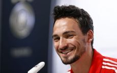 Germany's national soccer team player Hummels addresses a news conference in the village of Santo Andre